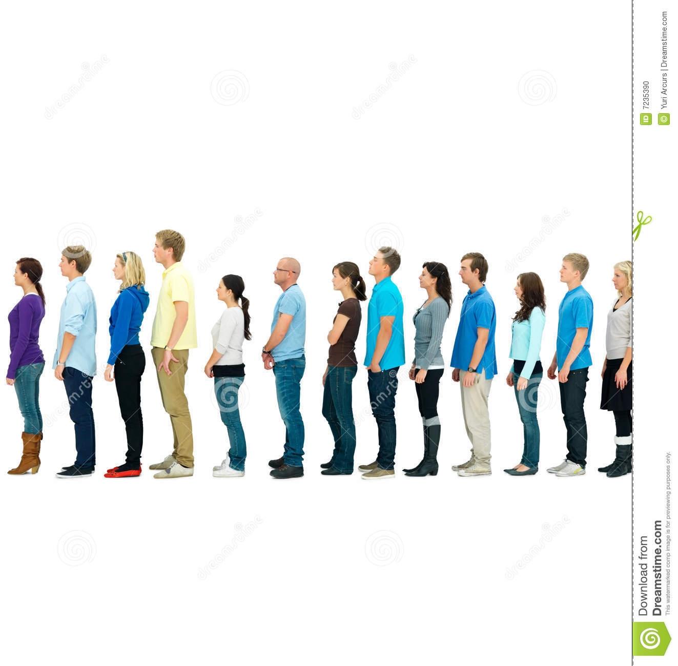 Children queue clipart.