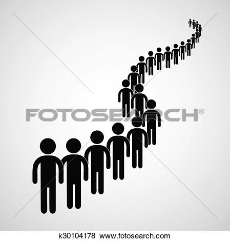 Clip Art of Long queue k30104178.