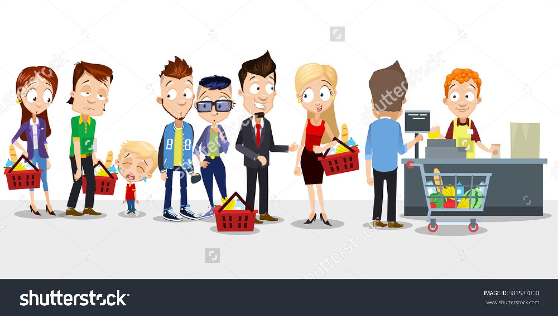 Children queuing clipart.