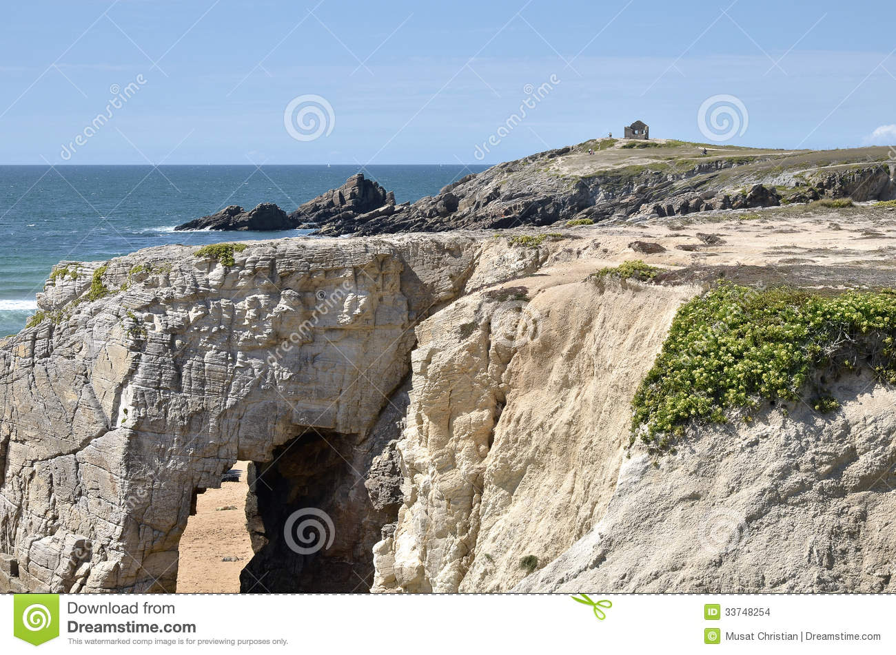 Arche On The Coastline Of Quiberon In France Stock Images.
