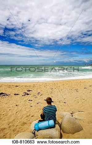 Stock Photo of Bretagne, Quiberon: contemplation, sitting on a.