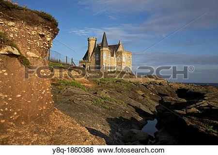 Stock Images of Turpault castle, wild coast of Quiberon, Morbihan.