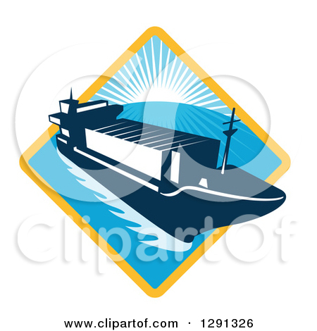 Clipart Blue Container Ship And Crane Over Rays.