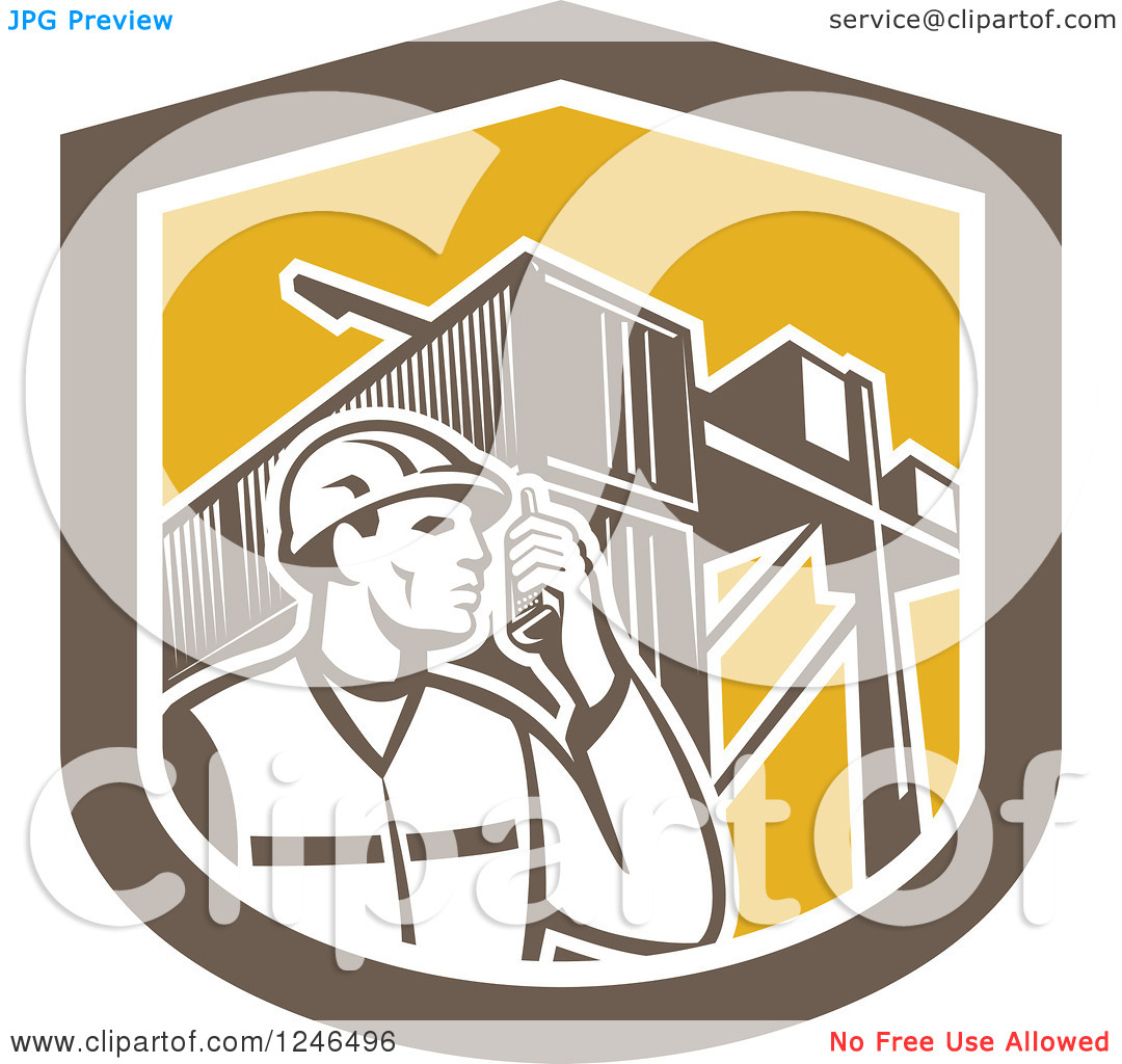 Clipart of a Retor Male Dock Worker with Shipping Containers in a.