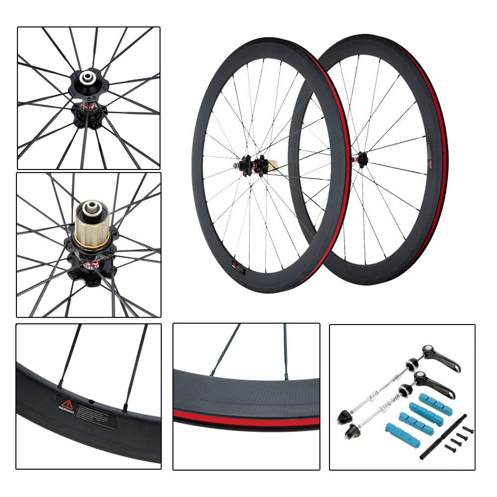 Bike Wheel 50mm Clincher Rim+Spokes+Hub+Quick Release Lever.