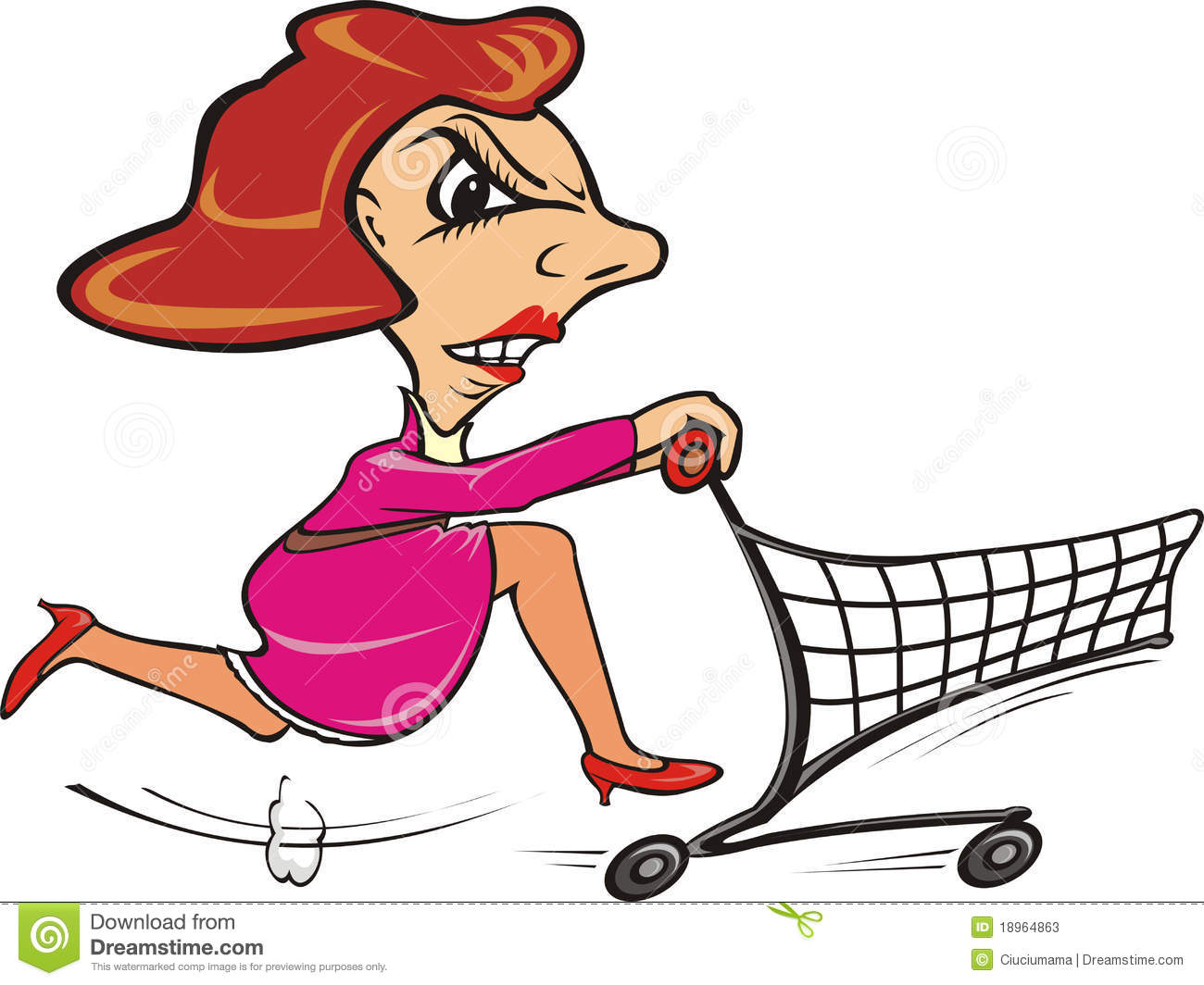 Quickly Shopper Go Shopping Stock Illustrations.