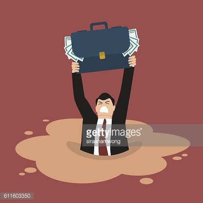 Businessman With Briefcase Full of Money Sinking IN A.