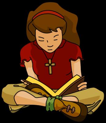 Quiet image teen girl reading bible clip art.
