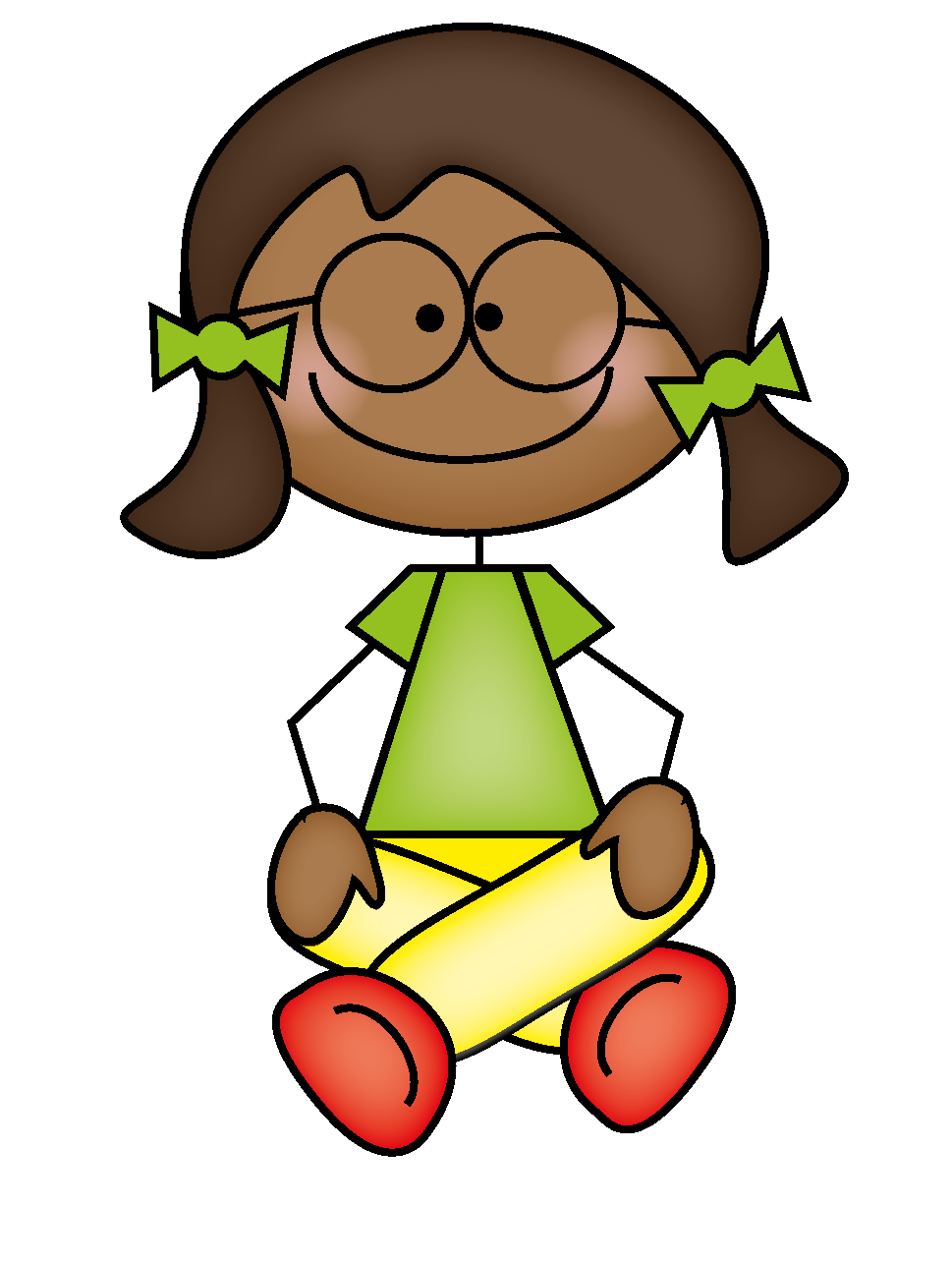 Student sitting quietly clipart.