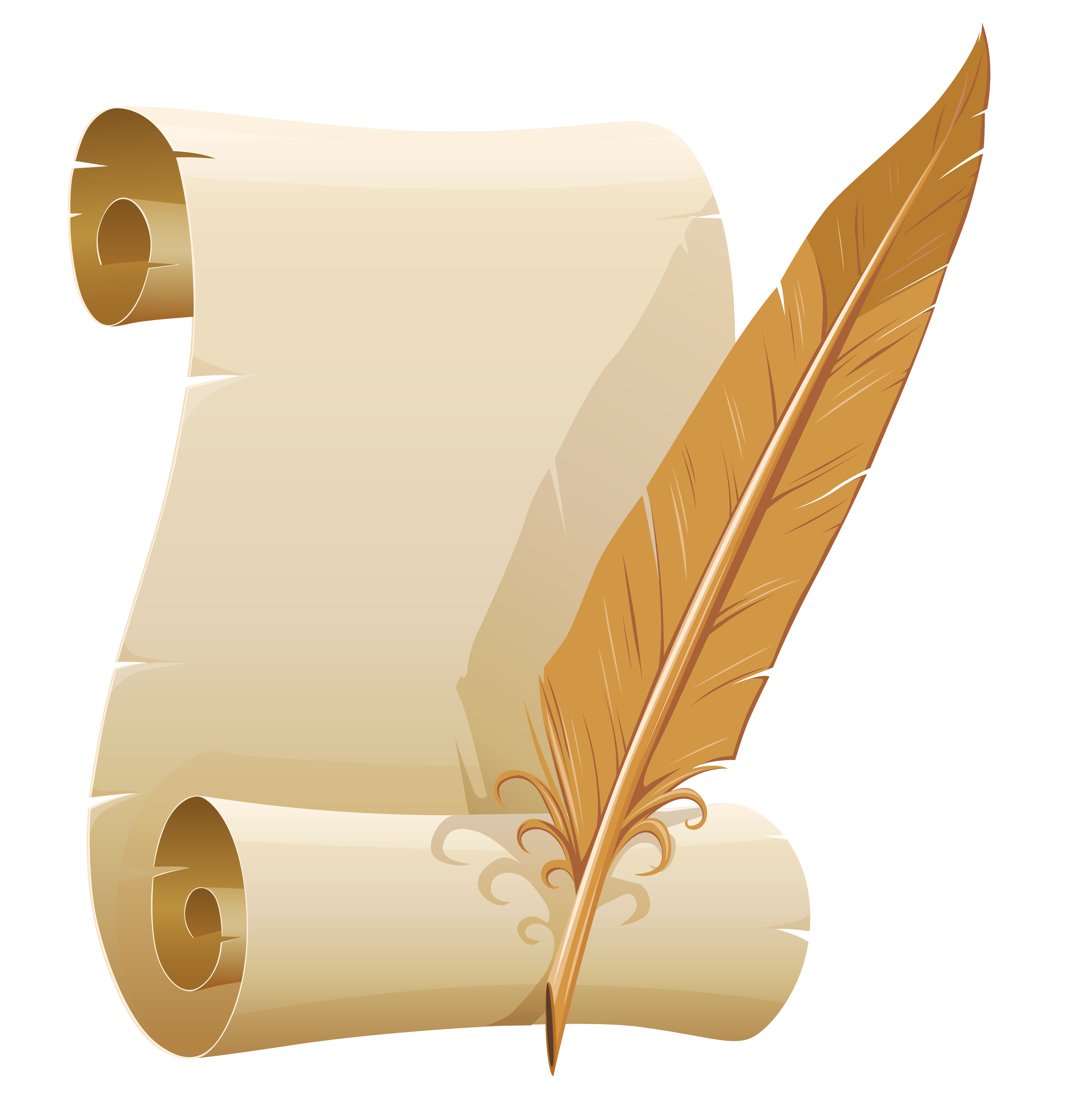 Scrolled Paper and Quill Pen PNG Clipart Image.