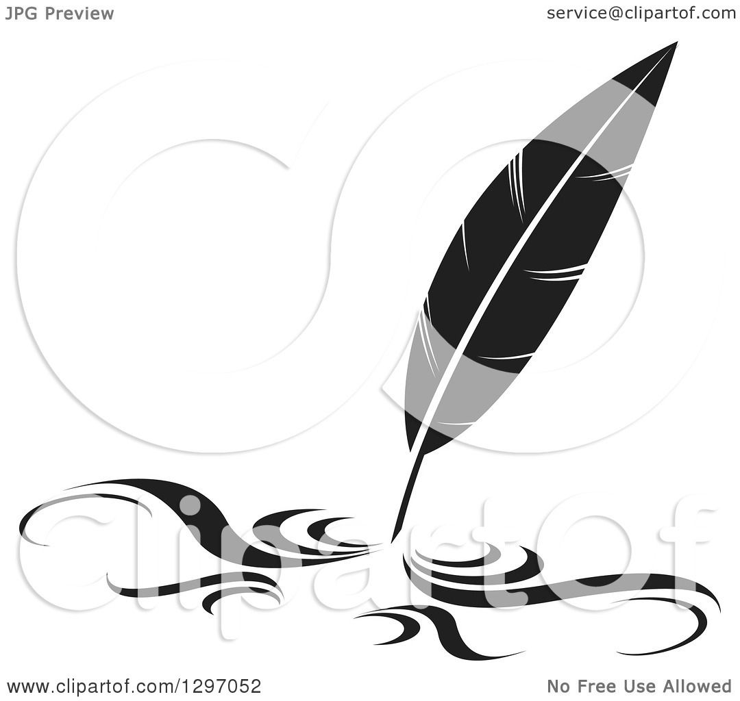 Clipart of a Black and White Writing Feather Quill Pen.