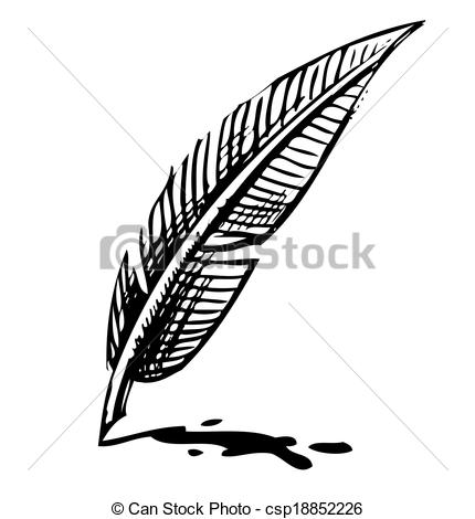Vector Illustration of Writing quill with ink blot. Sketch.