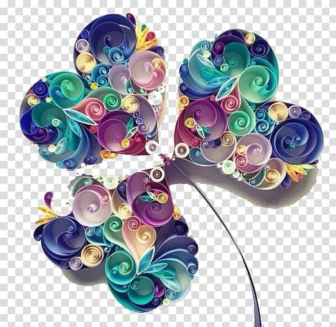 Paper craft Quilling Art Papercutting, Painting paper clover.