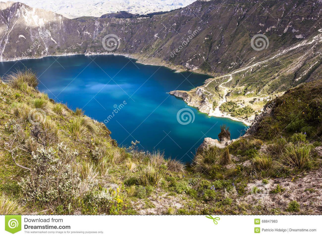 Quilotoa Crater Lake, Ecuador Stock Photo.