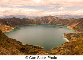 Stock Images of Quilotoa Lake At Sunset, South America.
