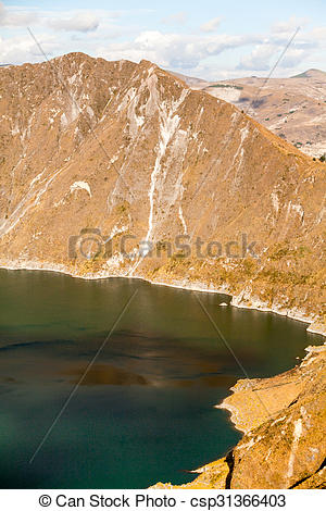 Stock Photography of Quilotoa Lagoon Vertical.