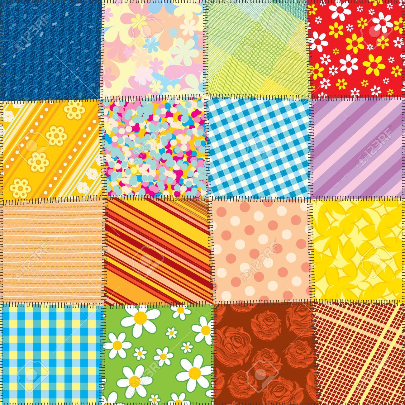 Quilt patterns clipart.