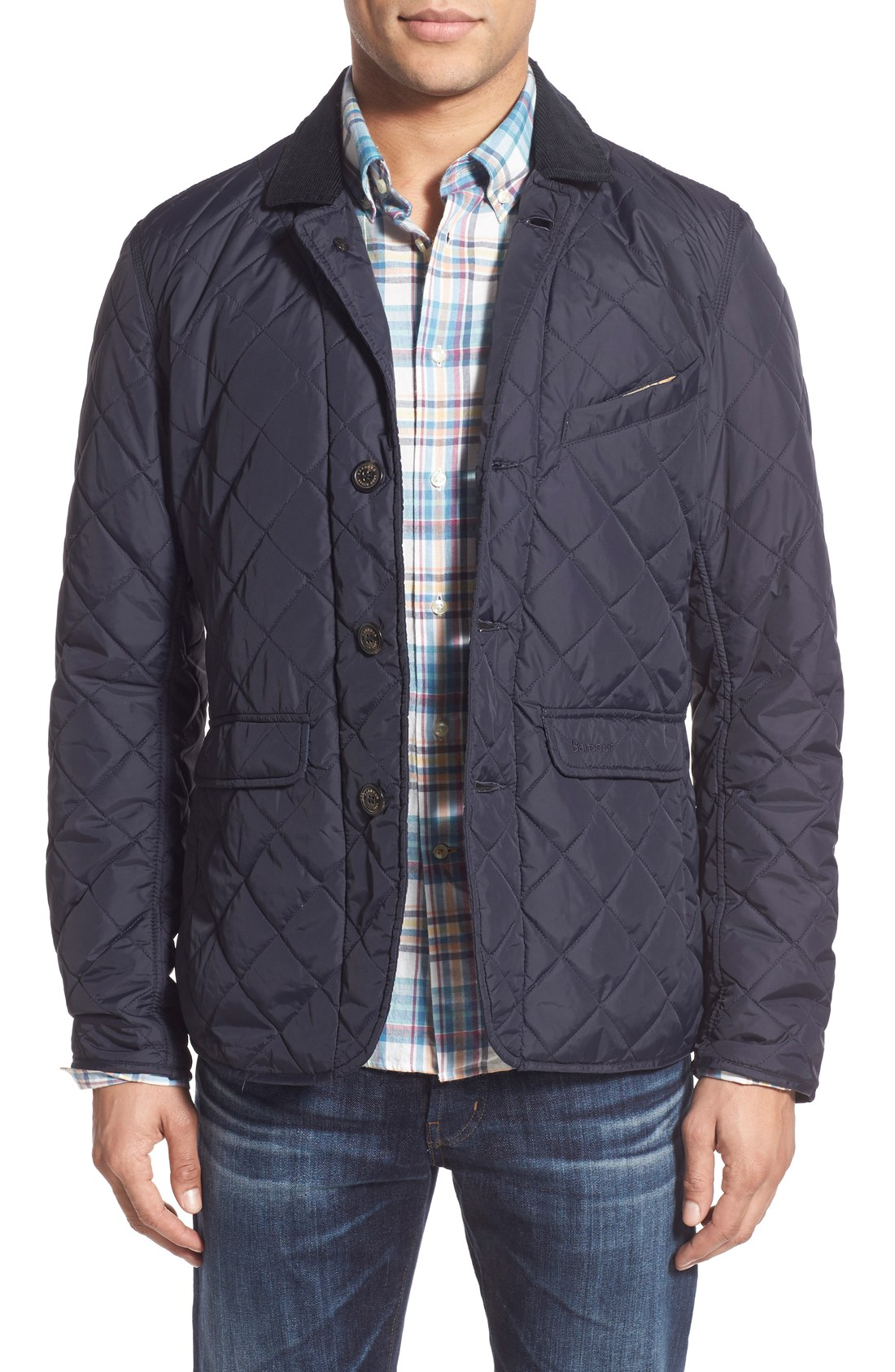 Barbour 'Beauly' Tailored Fit Quilted Jacket with Corduroy Collar.