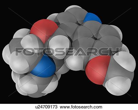Drawing of Quinine drug molecule u24709173.