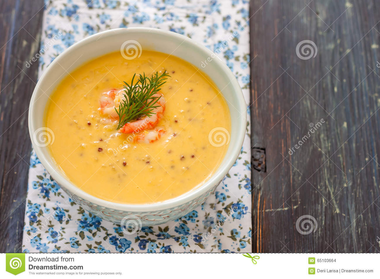 Pumpkin Soup With Quinoa And Shrimp Stock Photo.