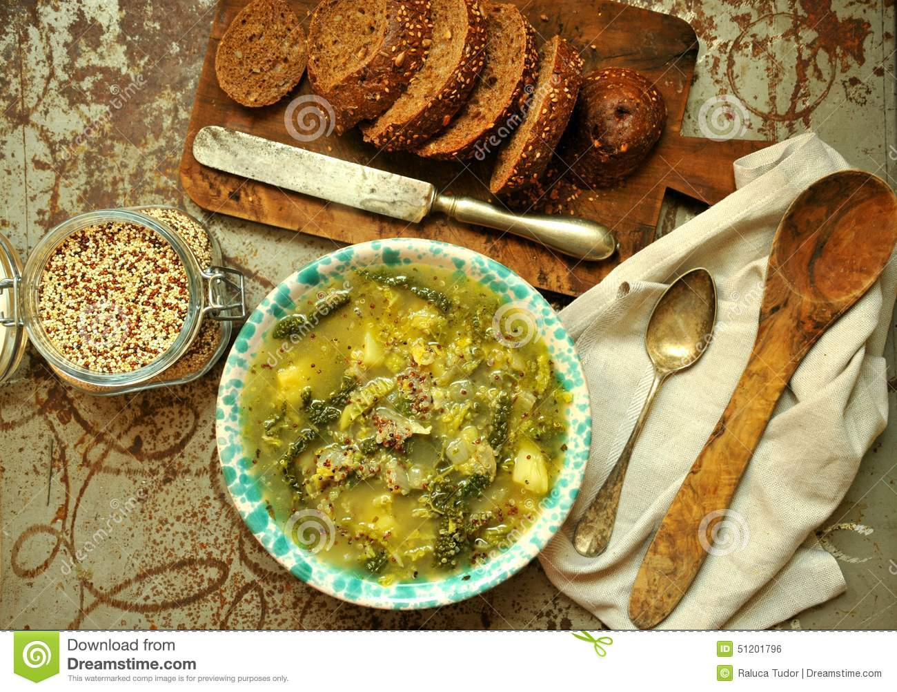 Vegan Dish: Quinoa Soup With Organic Cabbage And Potatoes Stock.