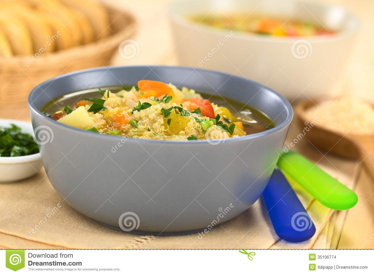 Quinoa And Vegetable Soup Stock Images.