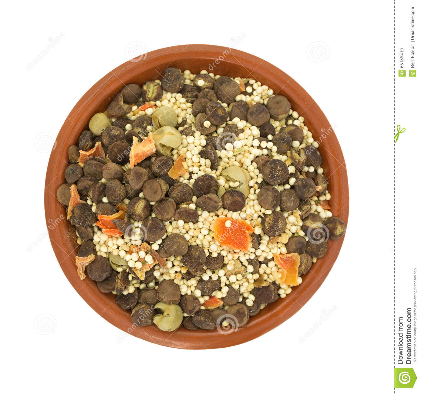 Quinoa And Lentil Dry Soup Mix In A Small Bowl Stock Photo.