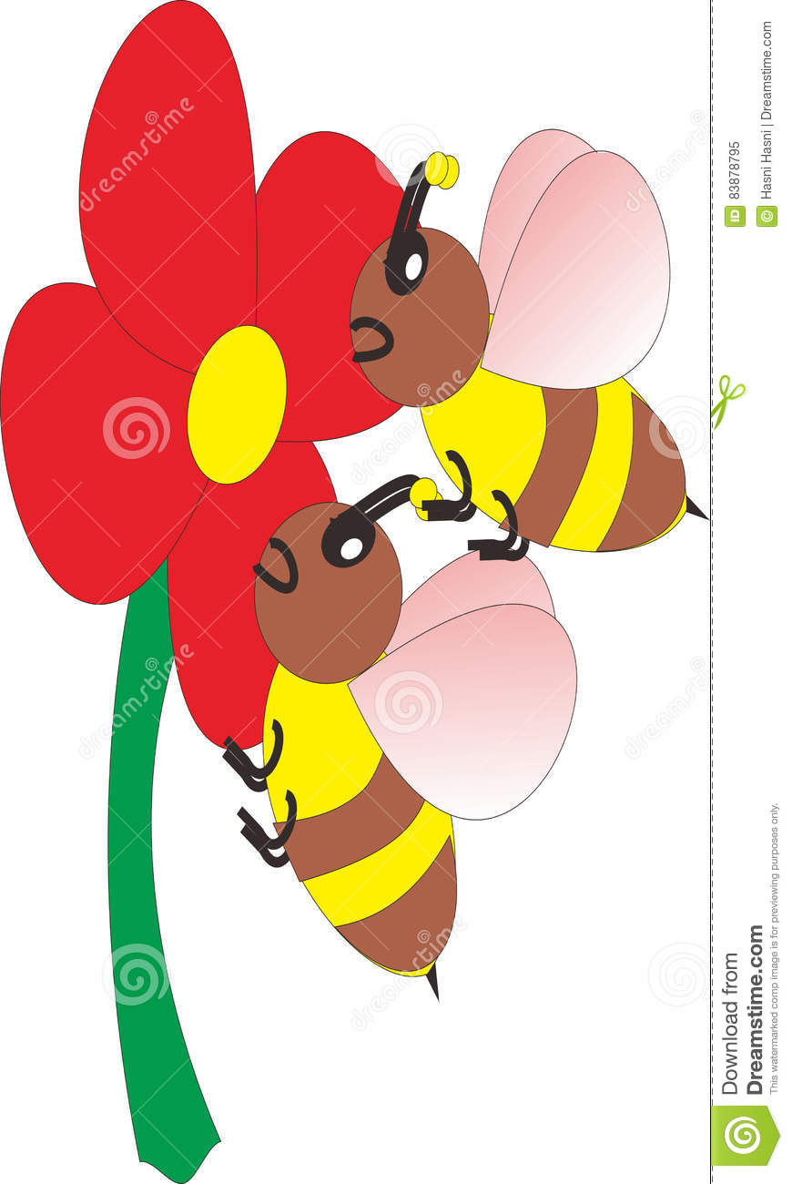 Vector Image Of Bees Suck The Quintessence Of Flowers Stock Vector.