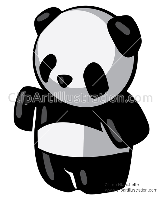 ClipArt Illustration of Cute Black and White Panda Bear.