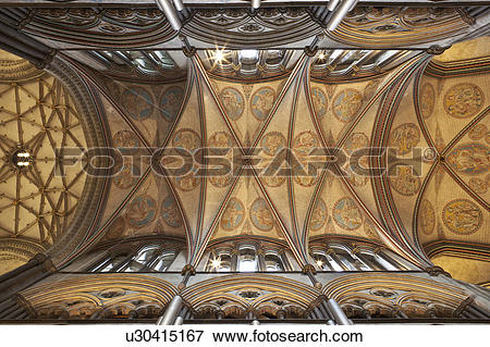Picture of England, Wiltshire, Salisbury. Ornate rib vault ceiling.