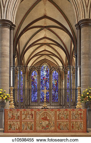 Stock Image of England, Wiltshire, Salisbury. High Altar in.