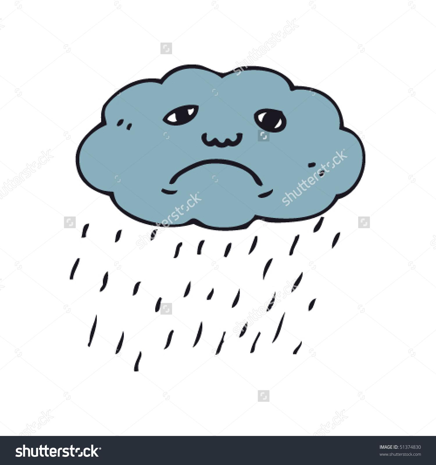 Sad rain cloud clipart.