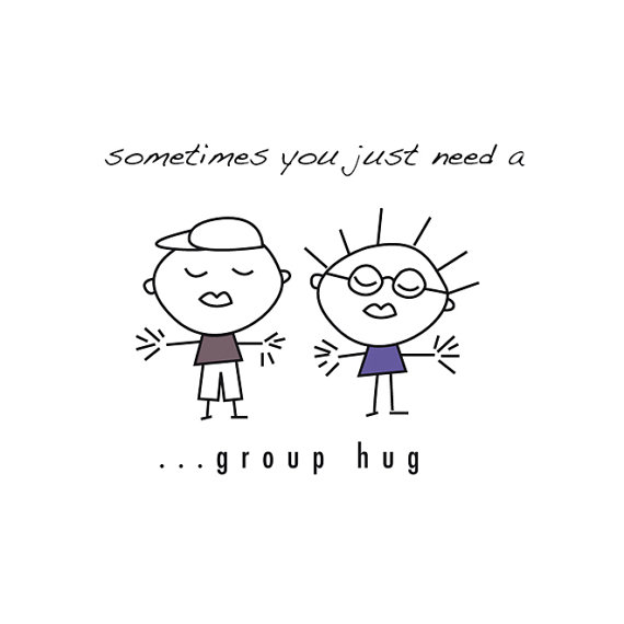 Quirky graphic group hug email tag cartoon clip art cute.