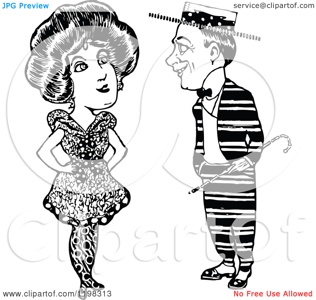 Clipart of a Black and White Vintage Quirky Couple.