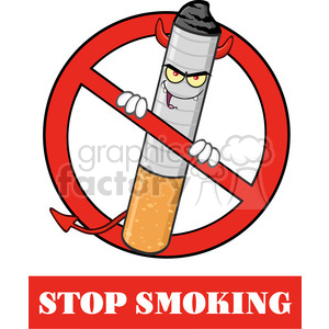 royalty free rf clipart illustration devil cigarette cartoon mascot  character in a prohibited symbol with text stop smoking vector illustration.