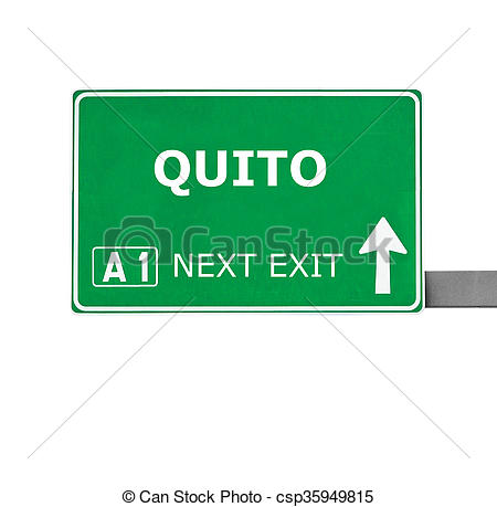 Clipart of QUITO road sign isolated on white csp35949815.
