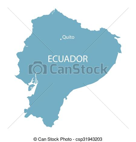 Vector Clipart of blue map of Ecuador with indication of Quito.