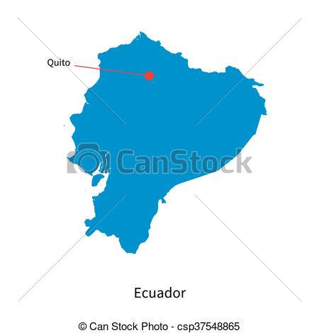 Clip Art Vector of Detailed vector map of Ecuador and capital city.