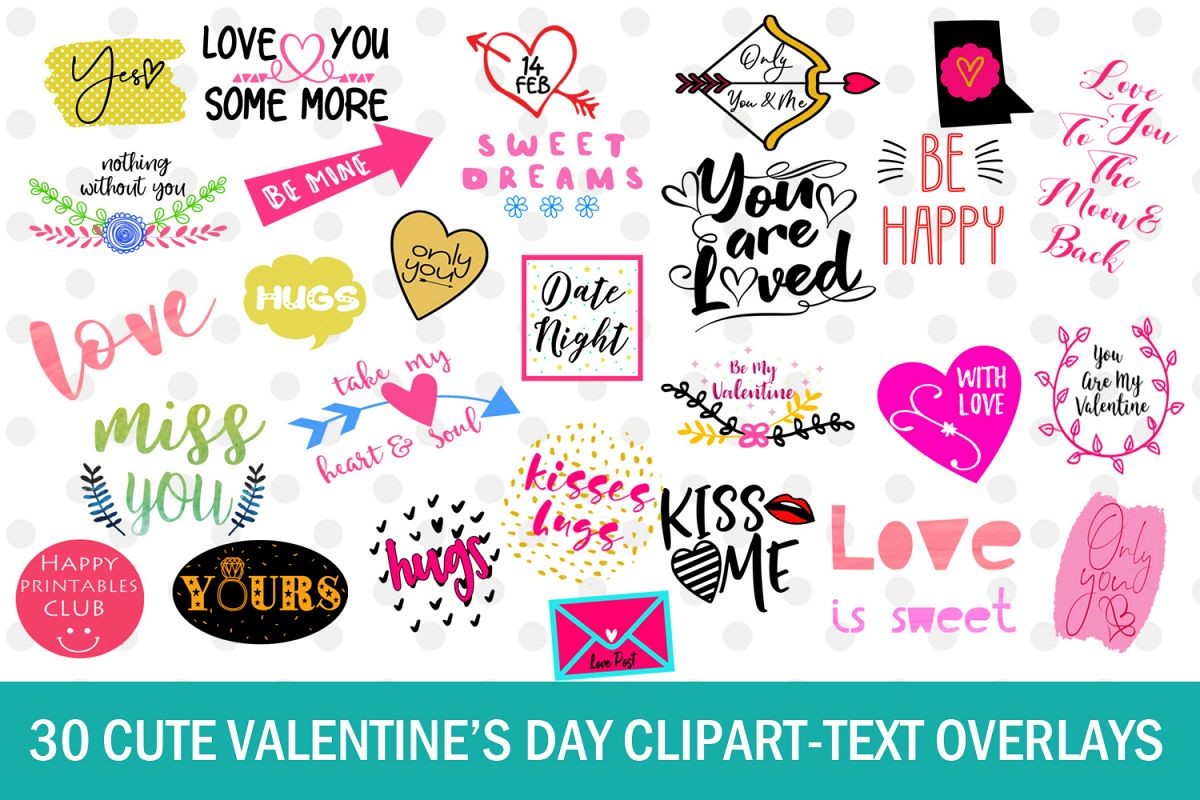 30 Cute Valentines Day Clipart.