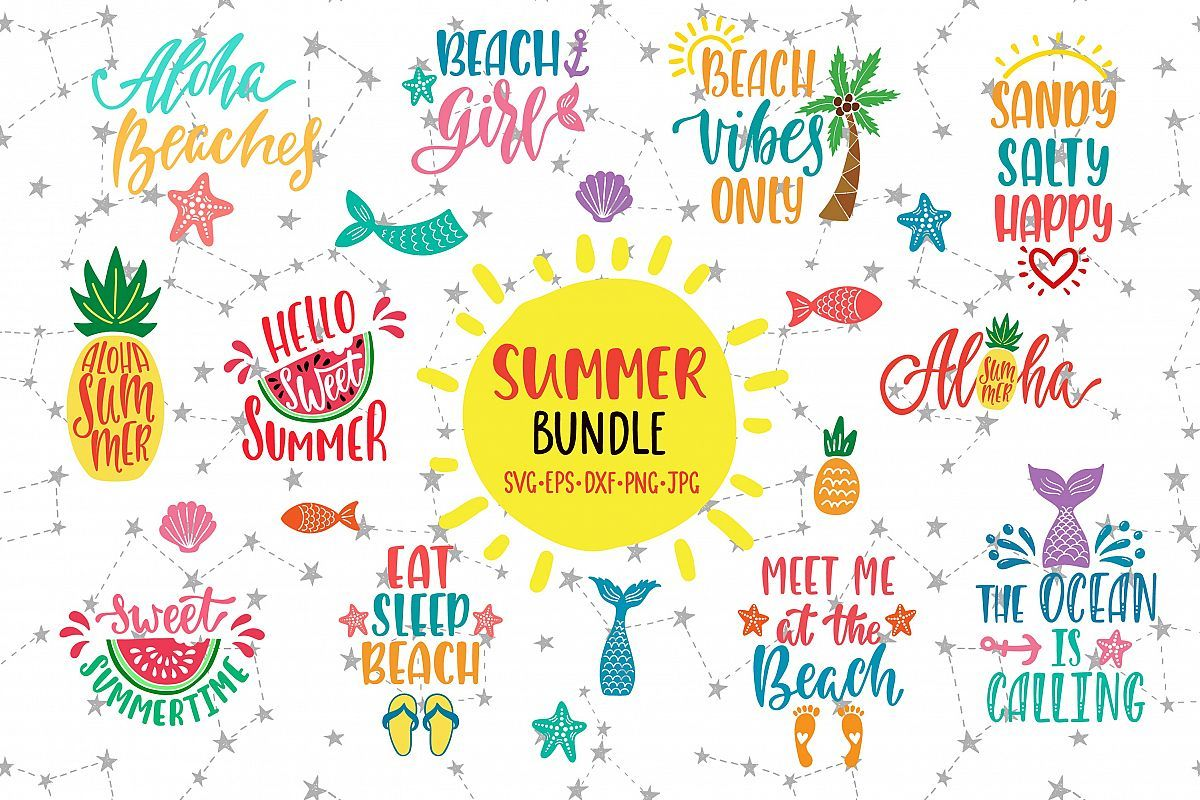 Summer Quotes Bundle SVG Vector Clip Art.