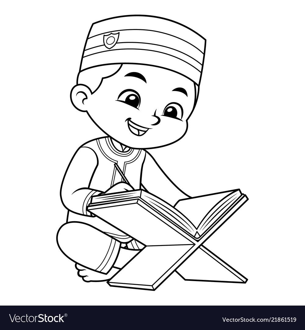Moslem boy reading quran bw.