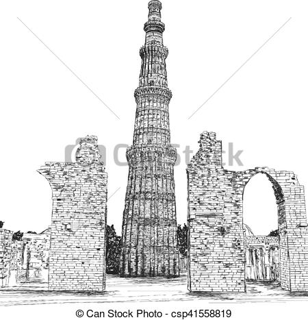 Vector Clip Art of Qutub Minar Vector Illustration.