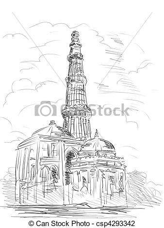 Clip Art of Qutub Minara tower Delhi India.