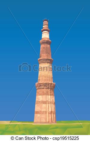 Vector Illustration of Qutub Minar illustration in triangular.