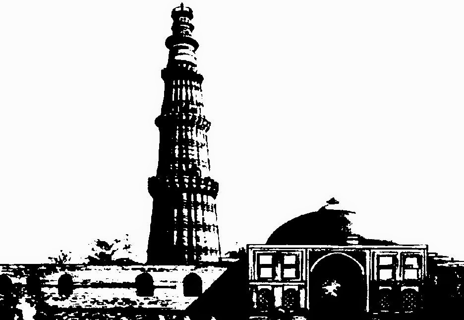 CLIP ARTS AND IMAGES OF INDIA: Monuments of India Line Drawings.