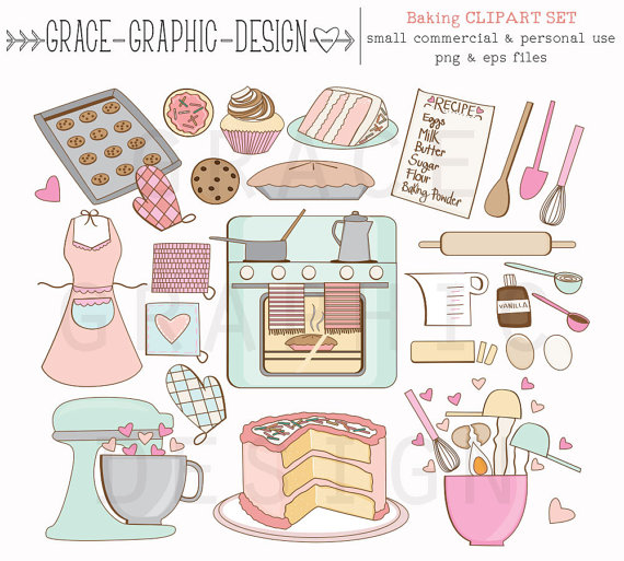 Baking Clipart Set Bake Sale Clipart Cookie by GraceGraphicDesign.