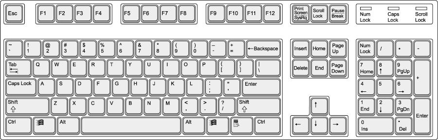 Colorful QWERTY Keypad Clip Art.