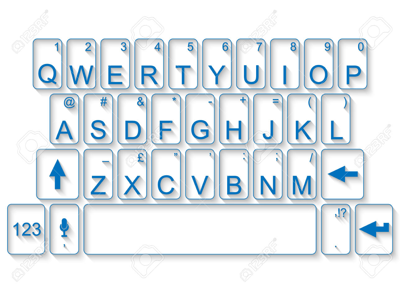 Clip Art of Blank QWERTY Keyboard.