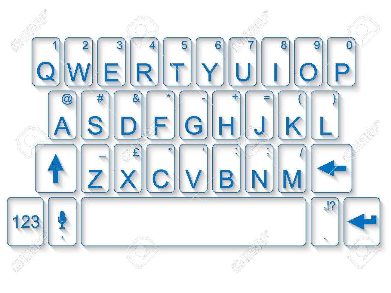 Clip Art of Blank QWERTY Keyboard.