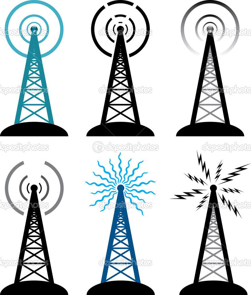 Vektor rádió torony szimbólumok — Stock Vektor © dmstudio #8893341.